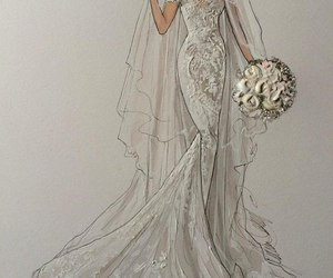 girl, wedding dress, and bouquets image