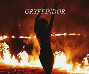 gryffindor, fire, and harry potter image