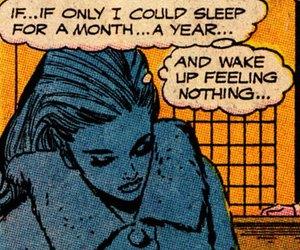 sleep, comic, and pop art image