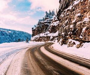 mountain, road, and snow image