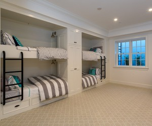 bed, bedroom, and bunk beds image