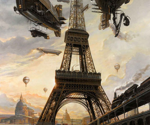 eiffel tower, paris, and art image