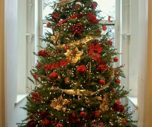 christmas tree, christmas lights, and christmas ornaments image
