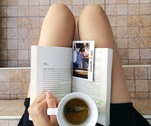 book, tea, and read image