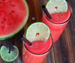 watermelon, drink, and food image
