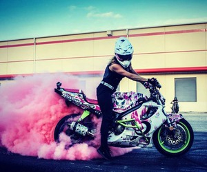 pink, girl, and motorcycle image