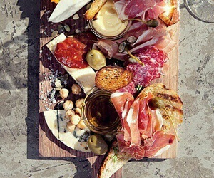 cheese, salami, and fruit image