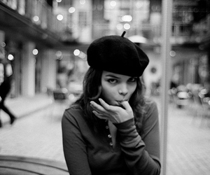 girl, beret, and black and white image