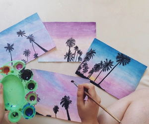 art, palm trees, and summer image