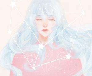 art, stars, and girl image