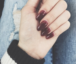 burgundy, deep red, and ripped jeans image