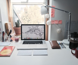 desk, studying, and window image
