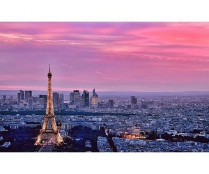 beautiful, eiffel tower, and pink sky image