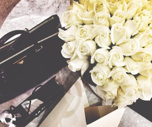 flowers, rose, and bag image