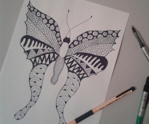black & white, butterfly, and doodle image