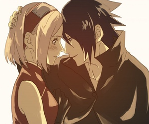 sasusaku, anime, and naruto image