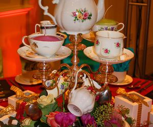 flowers, pink, and tea pot image