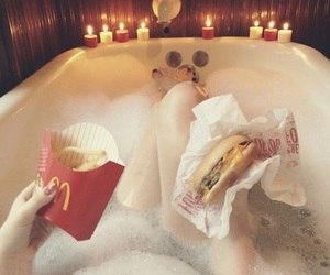 food, bath, and McDonalds image