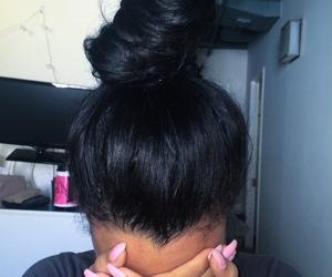 nails, bun, and hair image