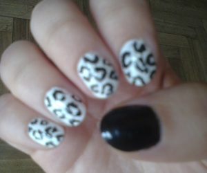 black, nails, and leopard image