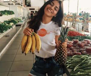 girl, fruit, and goals image