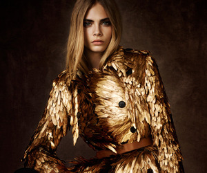 model, gold, and cara delevingne image