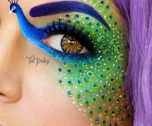 makeup, peacock, and art image