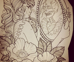 tattoo, drawing, and mirror image