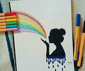 art, drawing, and rainbow image