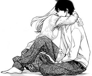 black and white, hug, and anime image