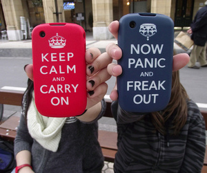 keep calm, phone, and red image