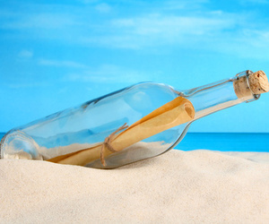 bottle, beach, and message image