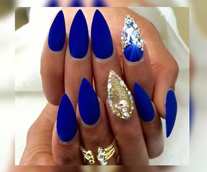 blue nails, fashion, and girly image