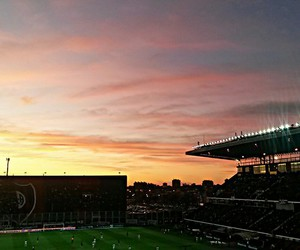 atardecer, football, and scenery image