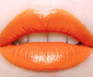 lips, orange, and lipstick image