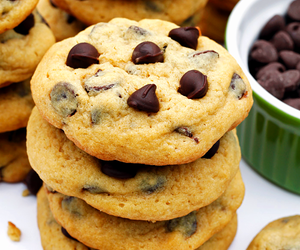 chocolate chip cookies, delicious, and photography image
