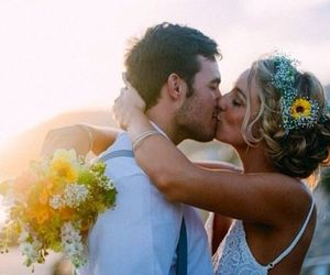 sunset, wedding, and love image