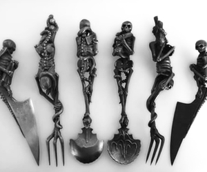 skeleton, skull, and knife image