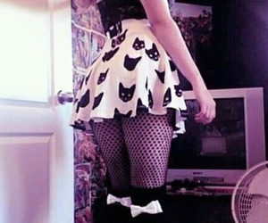 cat, skirt, and black image
