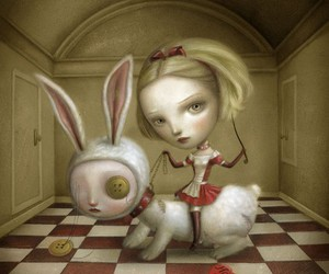 wonderland, art, and rabbit image