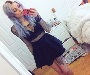 girl, purple hair, and tattoo image