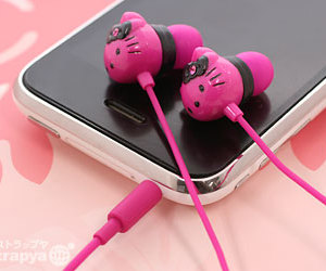 hello kitty, pink, and headphones image