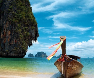 boat, paradise, and beach image