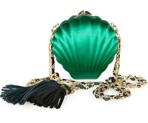 clutch, satin, and shell image