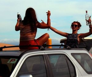 car, girls, and happy image