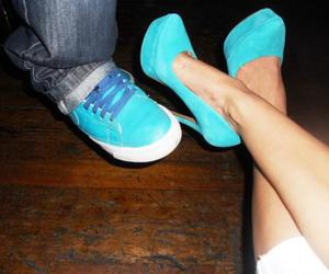 blue, couple, and heels image