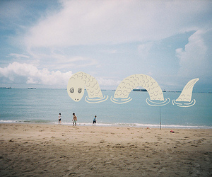 sea, beach, and monster image