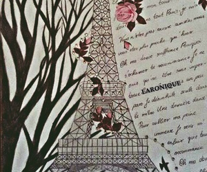 art, drawing, and eiffel tower image