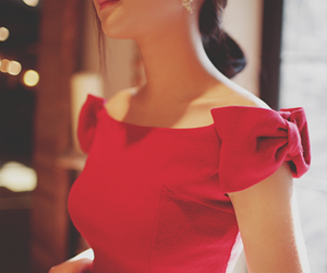 dress, red, and bow image
