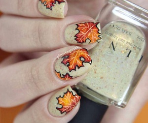 autumn, nails, and leaves image